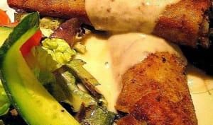 Crêpes panées, frites aux champignons et fromage