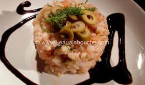Tartare de Saumon et Crevettes à l'Aneth et aux Olives