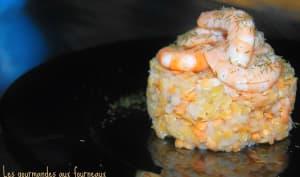 Râpé de navet aux lentilles corail et ses crevettes