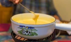 Fondue au fromage mariné, saveurs pommes, citron, kirsch