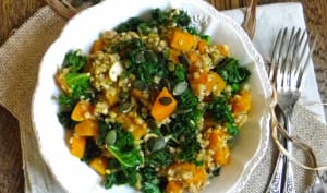 Poêlée de butternut, chou kale, champignons et sarrasin