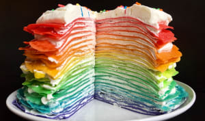 Rainbow crêpes cake