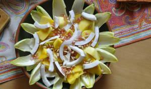 Salade d'endive mangue noix de coco