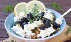 Salade de lentilles olives, citron et feta