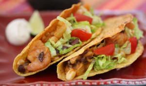 Tacos aux crevettes et haricots noirs