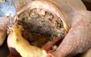 Chapon farci au foie gras : la farce - Etape 11
