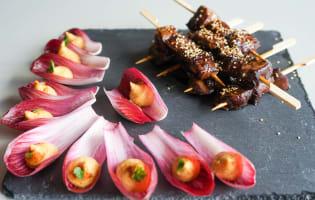 Brochettes de boeuf teriyaki et houmous au paprika en cuillères végétales - Etape 5