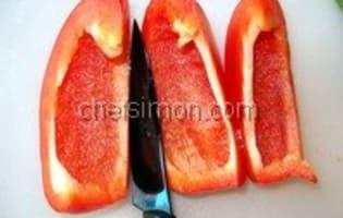 Peler un poivron au couteau - Etape 7
