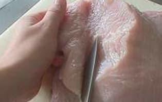 Tailler et aplatir une escalope de volaille - Etape 3