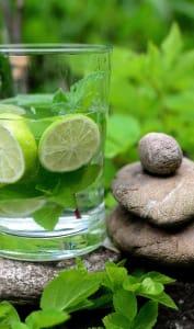 Verre d'eau, citron et menthe fraîche