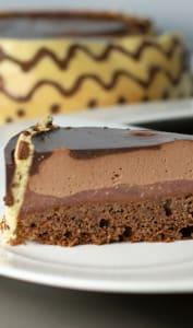 Entremets poire chocolat, biscuit joconde