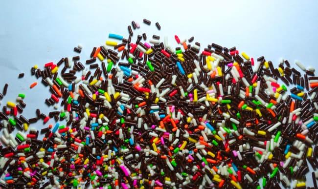 Vermicelles de chocolat colorés