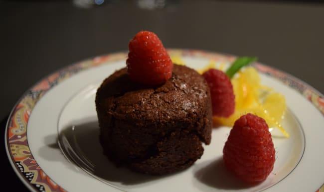 Petit moelleux au chocolat et framboises