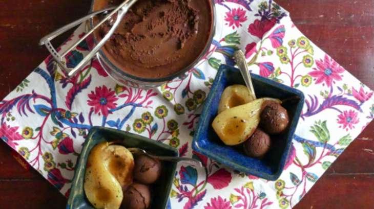 sorbet au chocolat et poires au four recette par tortore. Black Bedroom Furniture Sets. Home Design Ideas
