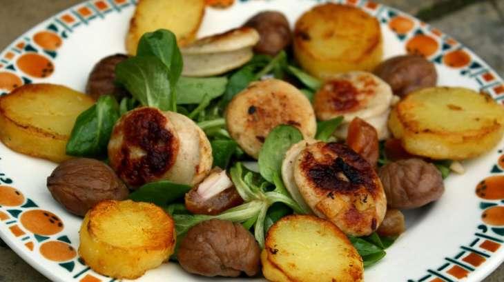 salade au boudin blanc pommes de terre et ch taignes recette par les vagabondages de vi ne. Black Bedroom Furniture Sets. Home Design Ideas