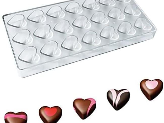 Le moule à chocolats coeurs