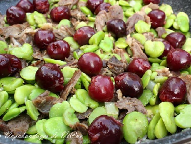 Effiloché de canard aux cerises et aux fèves