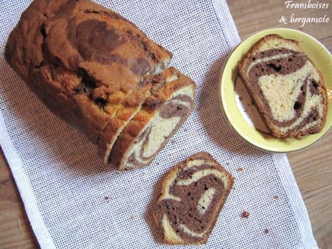 Cake marbré vanille chocolat