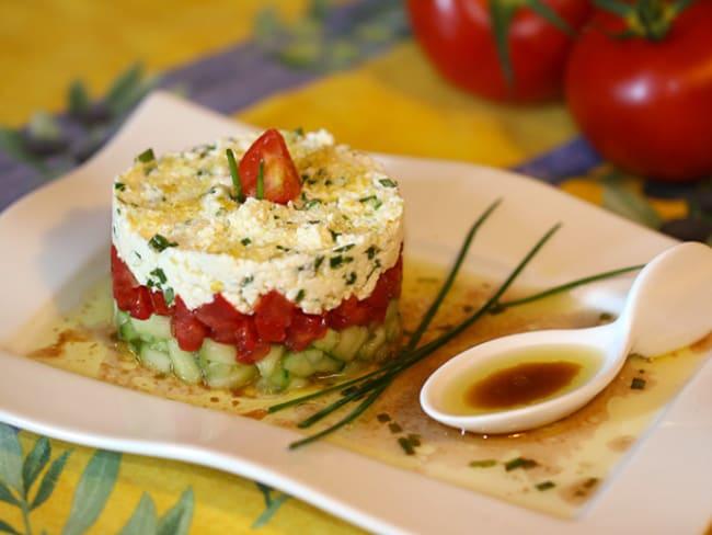 Tartare de concombre, tomate et feta