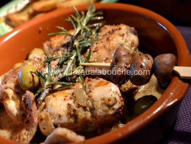 Râbles de Lapin à la Moutarde et aux Olives