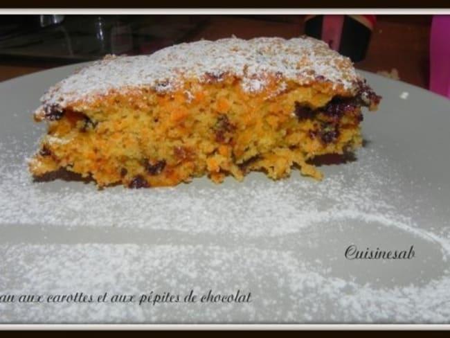 Gâteau aux carottes et aux pépites de chocolat