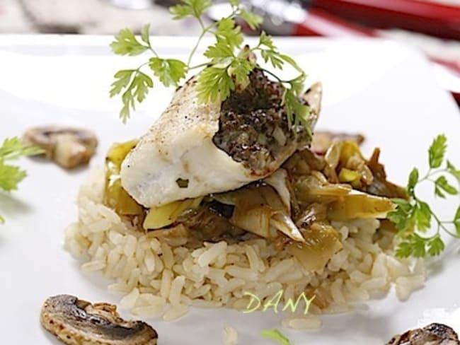 Filets de sole farcis aux champignons et fondue de poireaux au vin du Jura