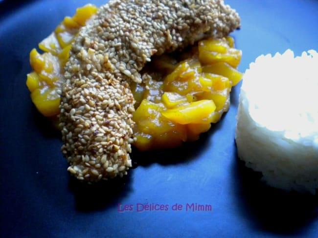 Filets de lapin en croûte de sésame et chutney de mangue
