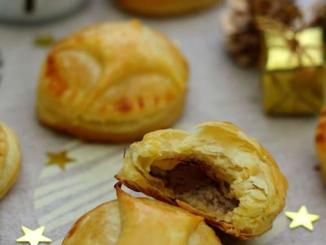 Chaussons au foie gras, poire et cacao