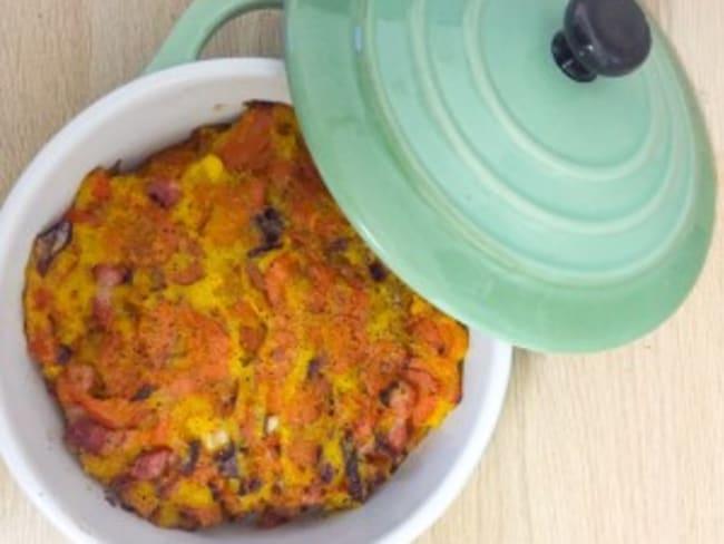Gratin de carottes et polenta au curry