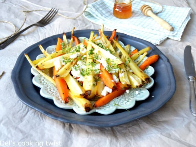 Légumes racines rôtis au four à la féta et au miel
