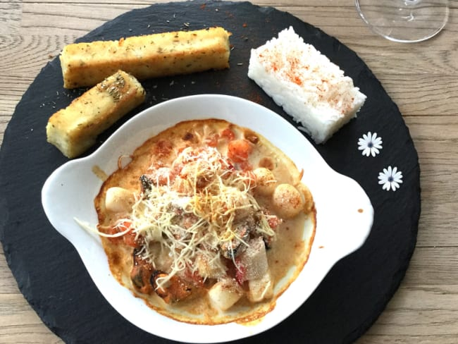 Cassolette de fruits de mer et polenta Méditerranéenne