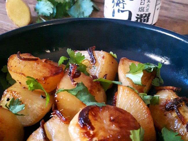 Navets caramélisés à la sauce soja et au gingembre