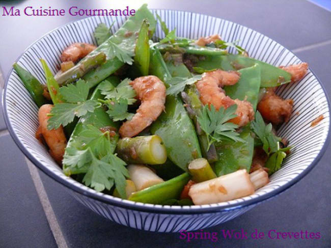 Spring wok de crevettes