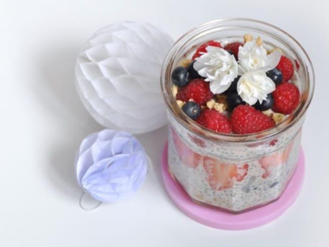 Crème dessert aux fruits rouges façon crumble