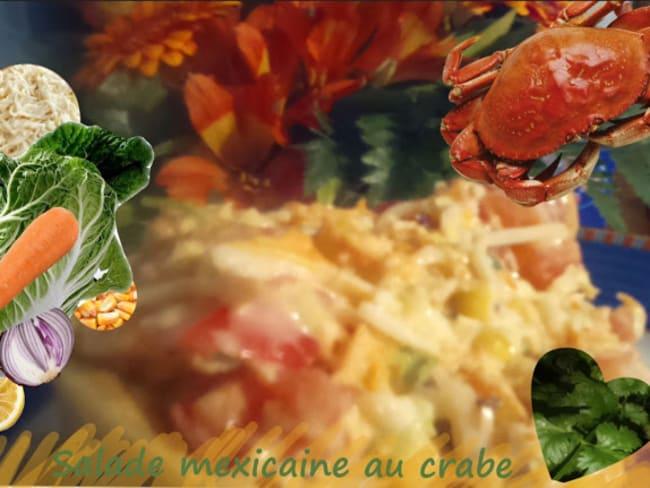 Salade mexicaine au crabe ou surimi, céleri, maïs, chou chinois, citron, tomates, oignon rouge