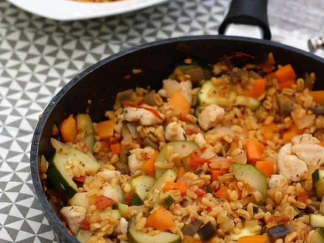 Blé au poulet et légumes du soleil
