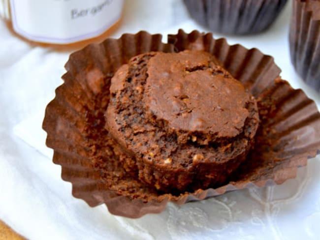 Muffins au chocolat noir, coeur bergamote