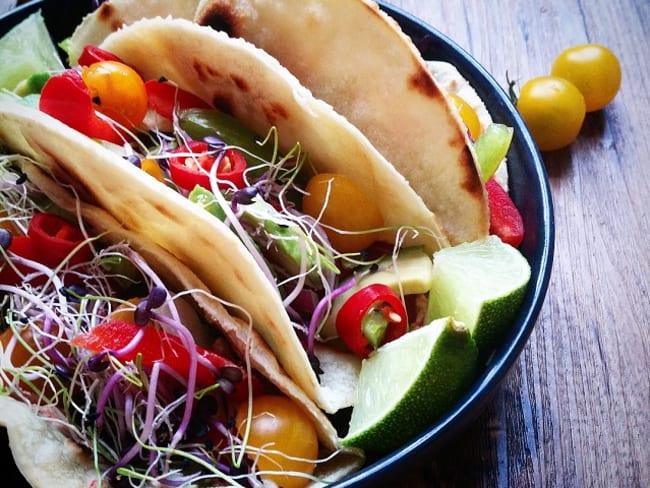 Tacos végétariens et tortillas maison