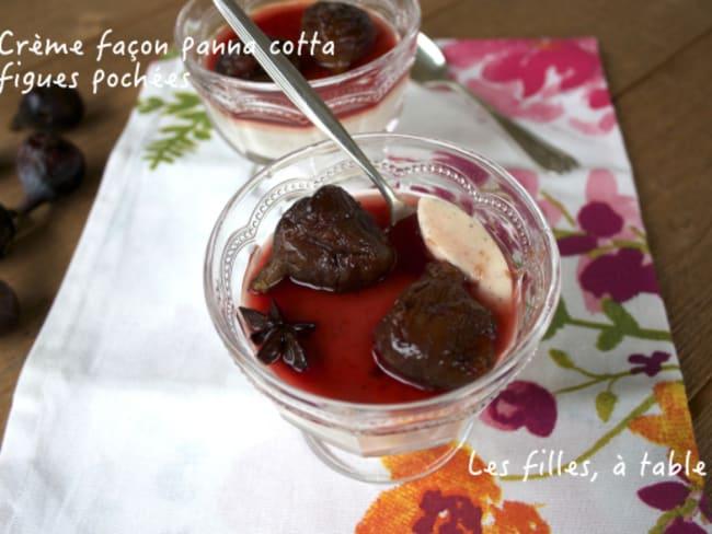 Crème façon panna cotta, figues pochées