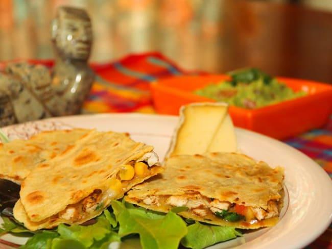 Quesadillas poulet-fromage et Guacamole
