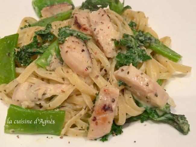 Linguine alfredo poulet kale