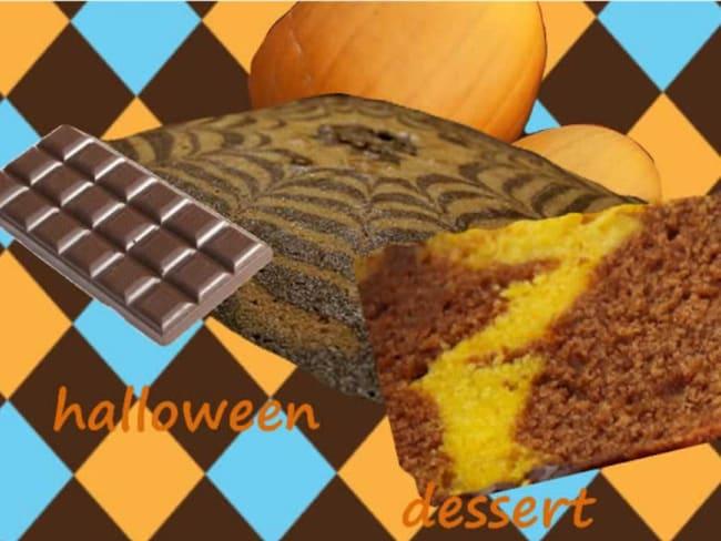 Gâteau marbré citrouille chocolat, épicé