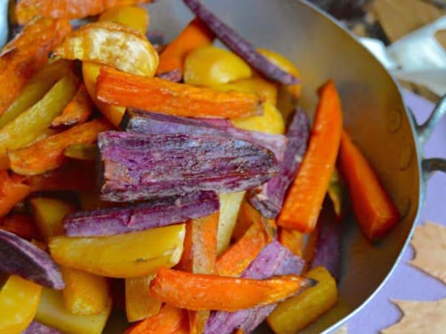 Frites de rutabagas et patates douces au sirop de coco