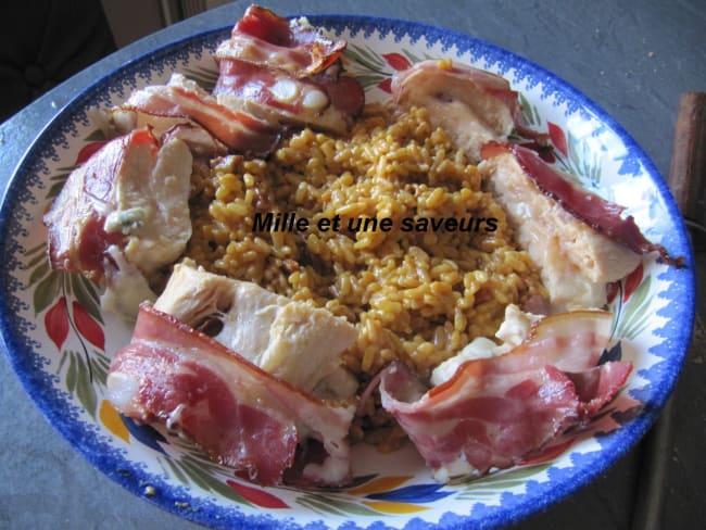 Suprême de poulet au gorgonzola avec son risotto chorizo