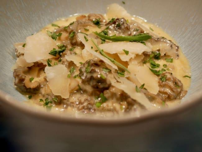 Morilles, crème à l'estragon et au parmesan