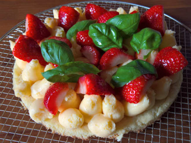 Tarte fraise, citron, basilic