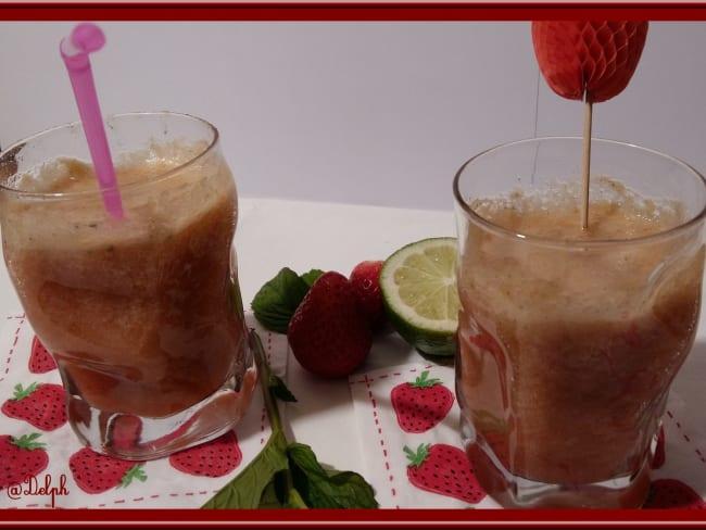 Jus Printanier à la rhubarbe, fraises et menthe