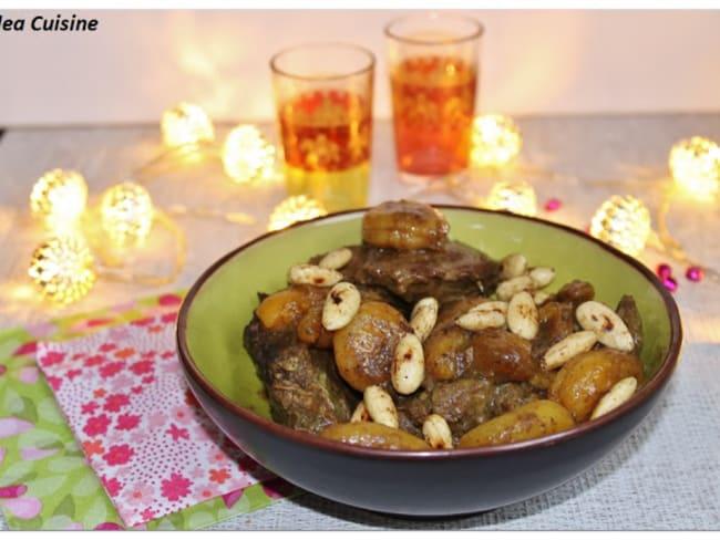 Tajine de boeuf, aux abricots et aux amandes