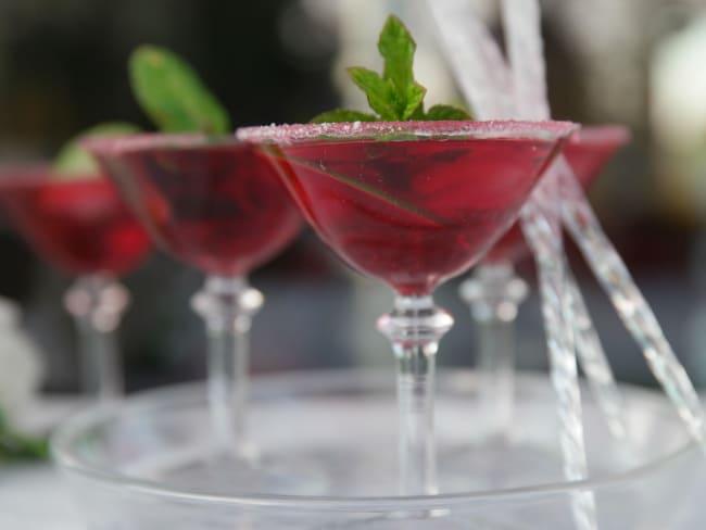 Cocktail sans alcool, facile et rafraichissant à l'hibiscus