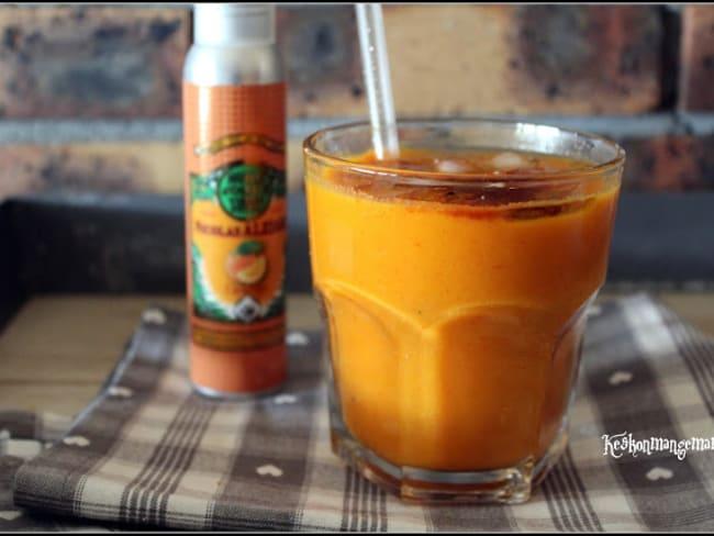 Gaspacho de carottes et poivrons à l'anis , huile d'olive à l'orange